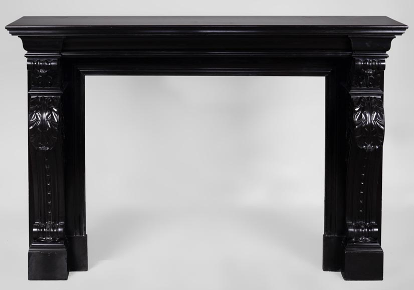 Beautiful antique Napoleon III fireplace with windings and acanthus leaves in Black Belgium marble-0