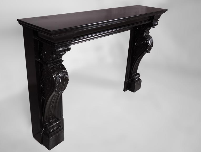 Beautiful antique Napoleon III fireplace with windings and acanthus leaves in Black Belgium marble-2