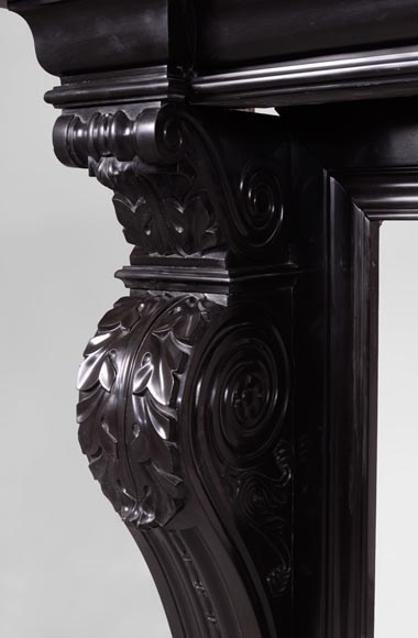 Beautiful antique Napoleon III fireplace with windings and acanthus leaves in Black Belgium marble-4