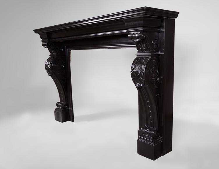 Beautiful antique Napoleon III fireplace with windings and acanthus leaves in Black Belgium marble-6