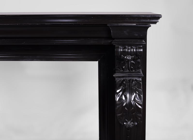 Beautiful antique Napoleon III fireplace with windings and acanthus leaves in Black Belgium marble-7