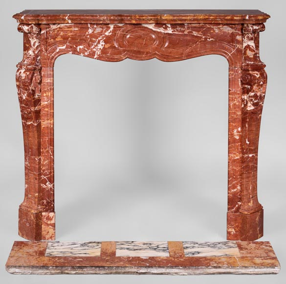 Antique Louis XV style fireplace, Pompadour model, in Saint Maximin Breccia marble-0