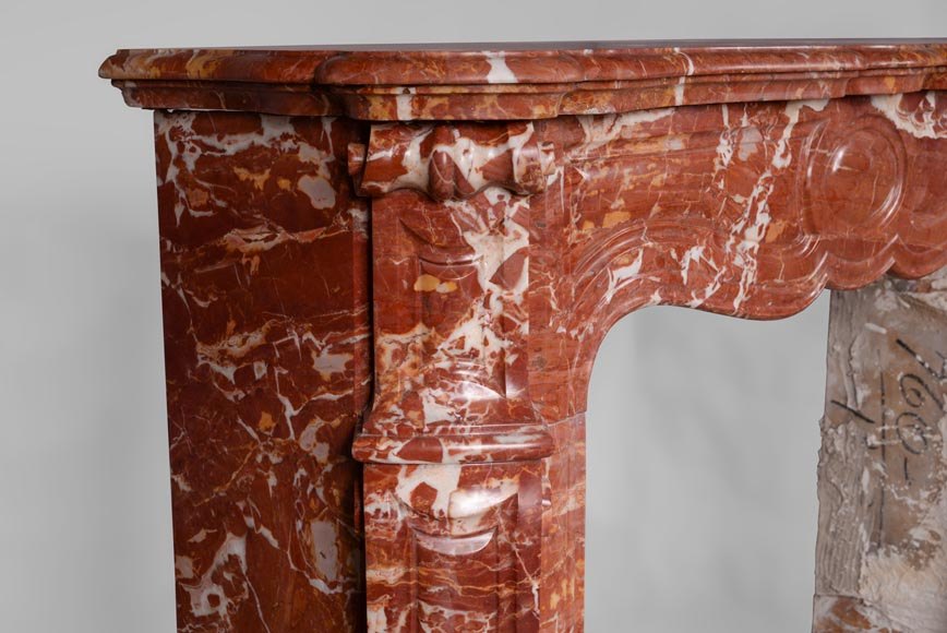 Antique Louis XV style fireplace, Pompadour model, in Saint Maximin Breccia marble-3