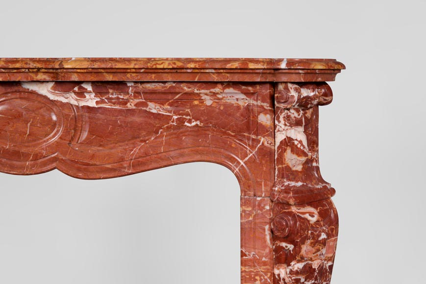 Antique Louis XV style fireplace, Pompadour model, in Saint Maximin Breccia marble-6