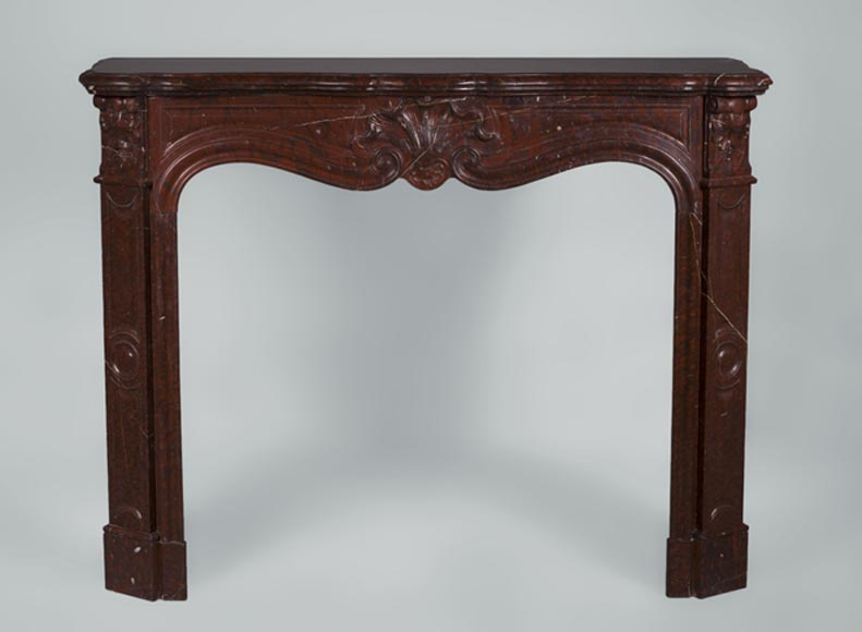 Antique Louis XV style fireplace with three shells decor in Red Griotte marble - Reference 3328