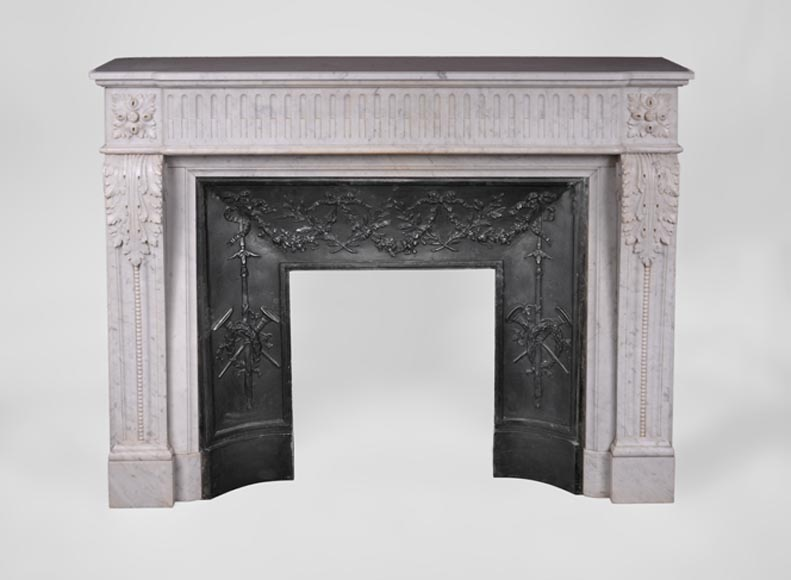 Antique Louis XVI style fireplace with flutings and acanthus leaves in Carrara marble - Reference 3329
