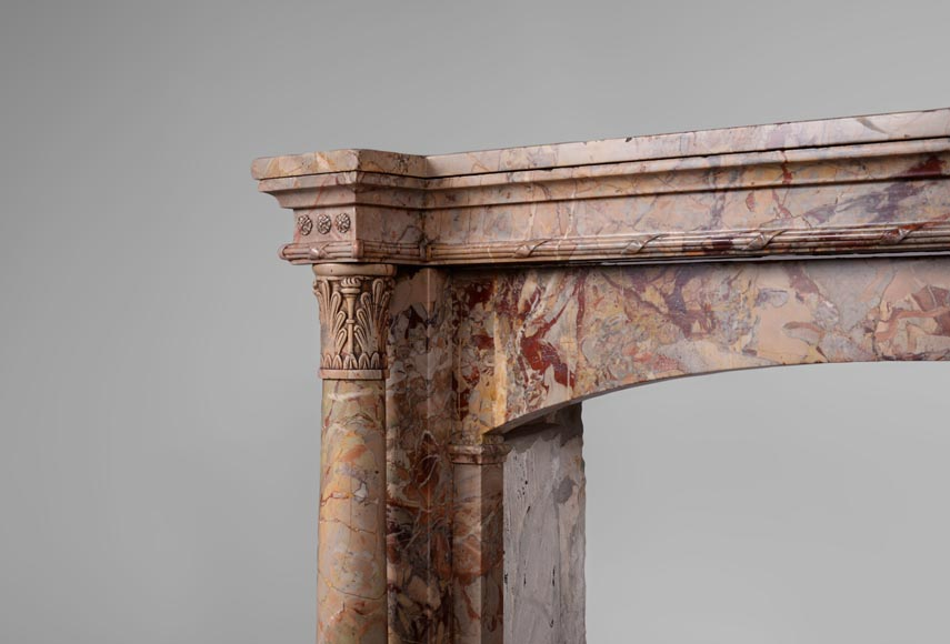Rare antique Empire style fireplace with columns in Sarrancolin Ilhet marble-3
