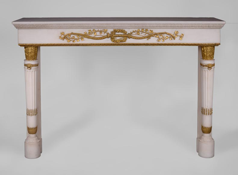 Very beautiful antique Louis XVI style fireplace in Statuary Carrara marble with quiver-shaped columns and gilt bronze ornaments after the model from the Chateau of Fontainebleau-0