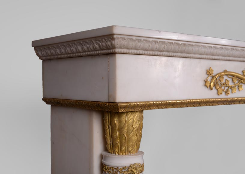 Very beautiful antique Louis XVI style fireplace in Statuary Carrara marble with quiver-shaped columns and gilt bronze ornaments after the model from the Chateau of Fontainebleau-8