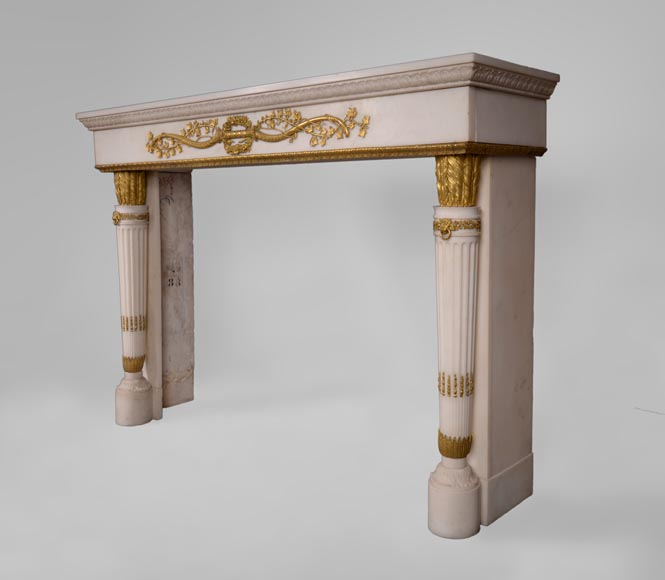 Very beautiful antique Louis XVI style fireplace in Statuary Carrara marble with quiver-shaped columns and gilt bronze ornaments after the model from the Chateau of Fontainebleau-12