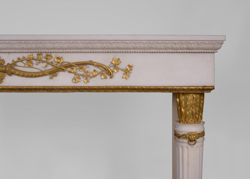 Very beautiful antique Louis XVI style fireplace in Statuary Carrara marble with quiver-shaped columns and gilt bronze ornaments after the model from the Chateau of Fontainebleau-13