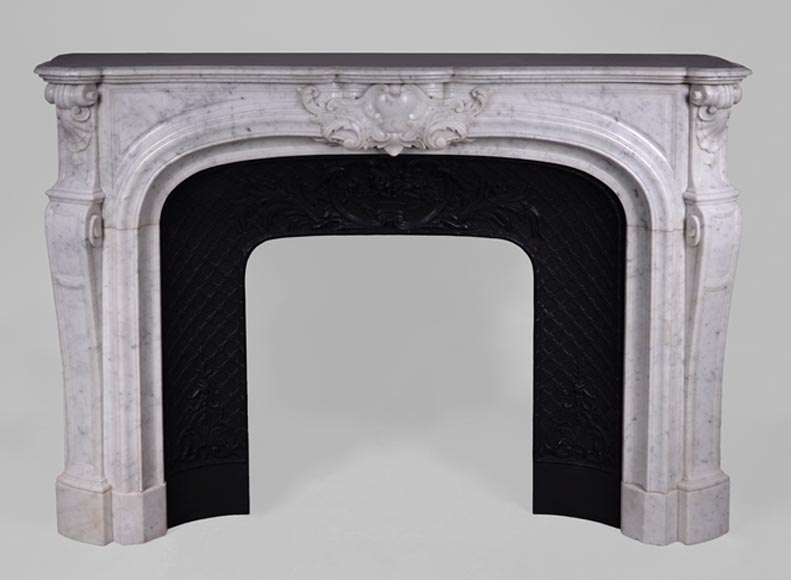 Large antique Regence style fireplace in white Carrara marble with its cast iron insert-0