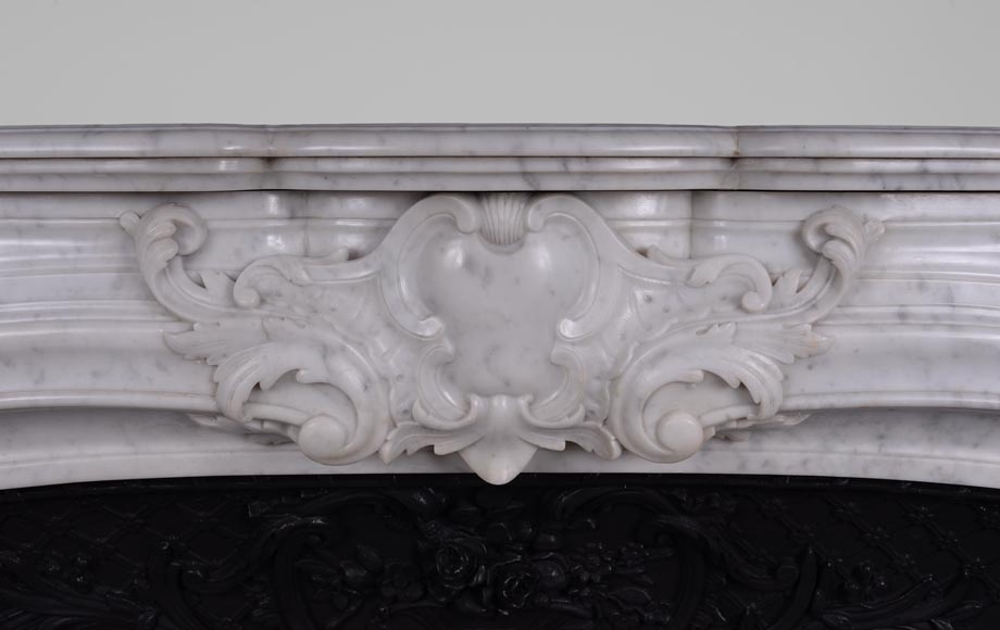 Large antique Regence style fireplace in white Carrara marble with its cast iron insert-1
