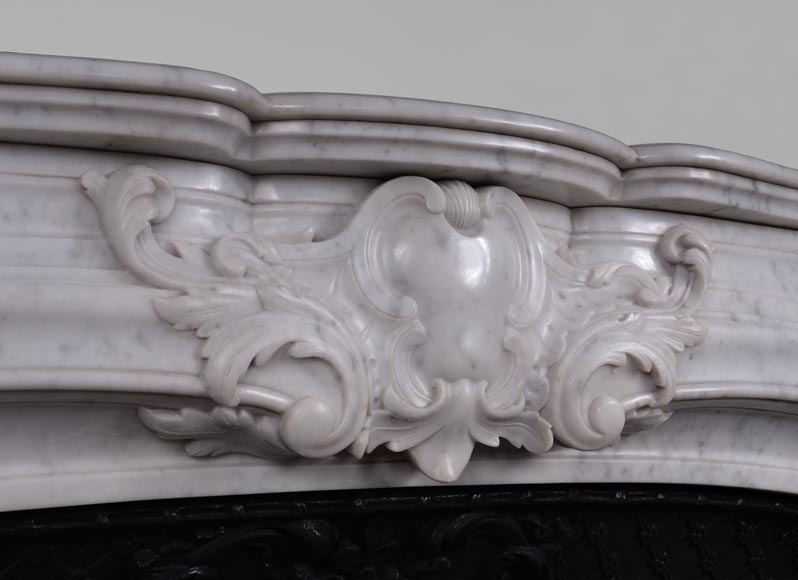 Large antique Regence style fireplace in white Carrara marble with its cast iron insert-2