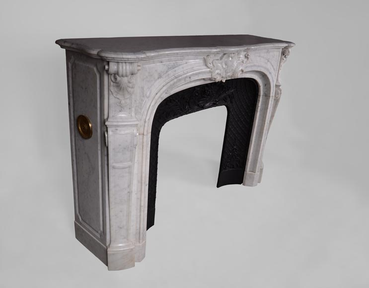 Large antique Regence style fireplace in white Carrara marble with its cast iron insert-5