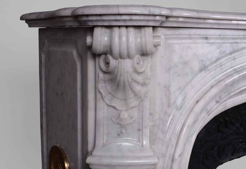 Large antique Regence style fireplace in white Carrara marble with its cast iron insert-6