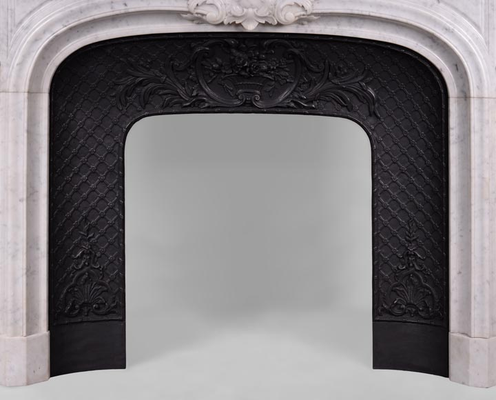 Large antique Regence style fireplace in white Carrara marble with its cast iron insert-13