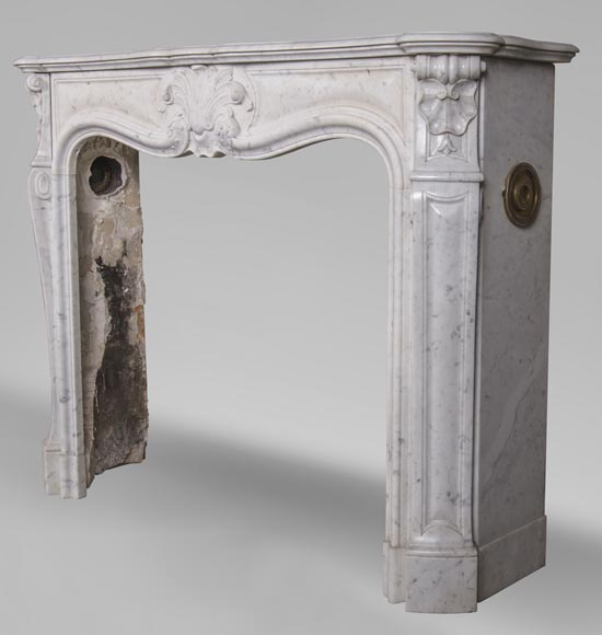An antique Louis XV style fireplace with foliaged shell-5