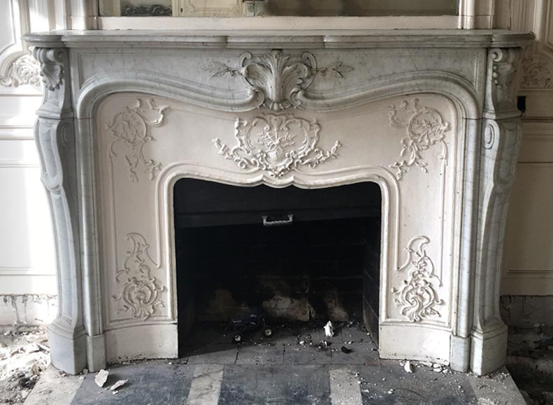 Beautiful Antique Louis Xv Style Fireplace In White