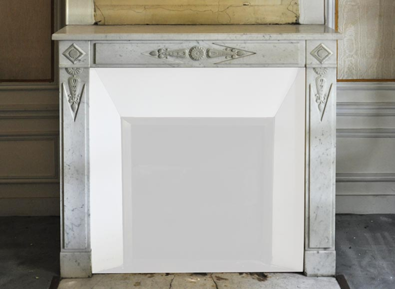Antique Directoire style fireplace in white Carrara marble, stylized rosettes and palmettes decor - Reference 3339