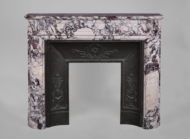 Antique Louis XVI style fireplace with rounded corners in Violet Breccia marble - Reference 3342