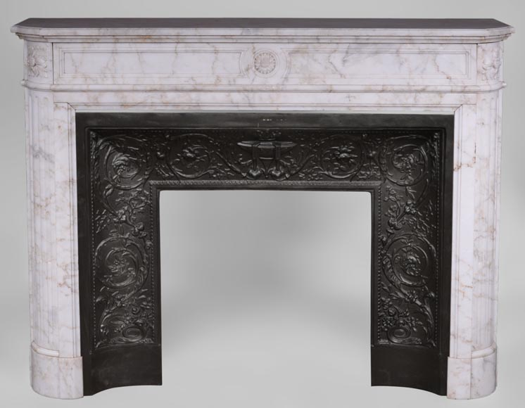 Antique Louis XVI style fireplace with rounded corners in Onyx marble-0