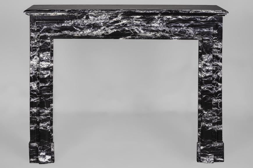 Antique Louis XIV style fireplace in Black Marquina marble-0