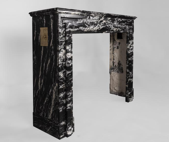 Antique Louis XIV style fireplace in Black Marquina marble-2