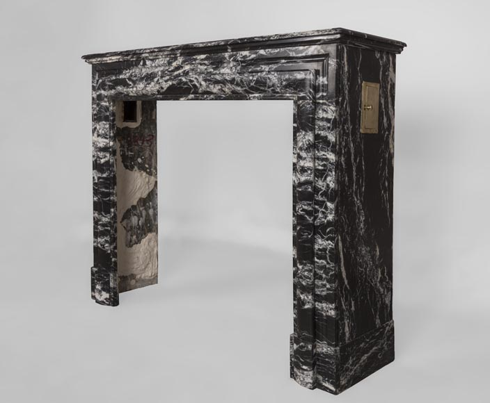 Antique Louis XIV style fireplace in Black Marquina marble-5
