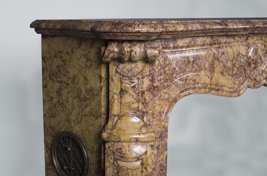 Antique Louis XV style fireplace, Pompadour model, in Brocatelle marble-3