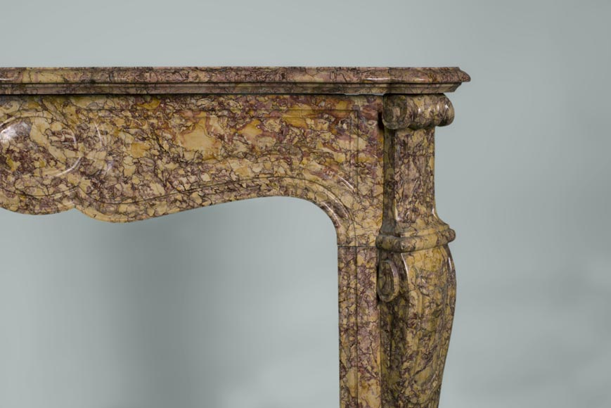 Antique Louis XV style fireplace, Pompadour model, in Brocatelle marble-6