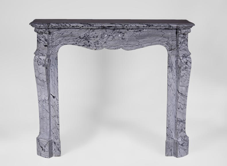 Antique Louis XV style fireplace, Pompadour model, in Bleu Fleuri marble - Reference 3346