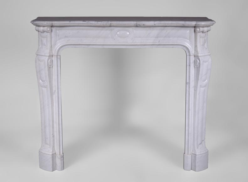 Antique Pompadour fireplace, Louis XV style, in white Carrara marble - Reference 3347