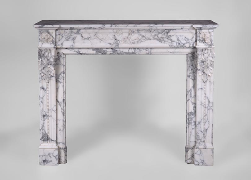 Beautiful antique Louis XVI style fireplace with laurel branches decor in Arabescato marble - Reference 3348