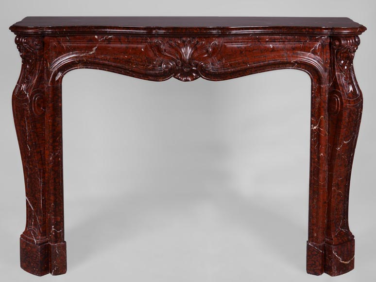 Beautiful antique Louis XV style fireplace in Red Griotte marble-0
