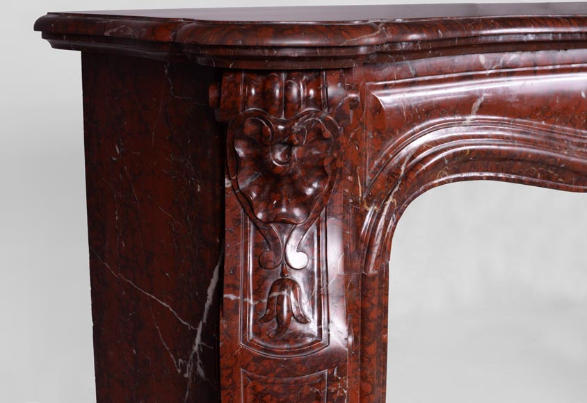 Beautiful antique Louis XV style fireplace in Red Griotte marble-4