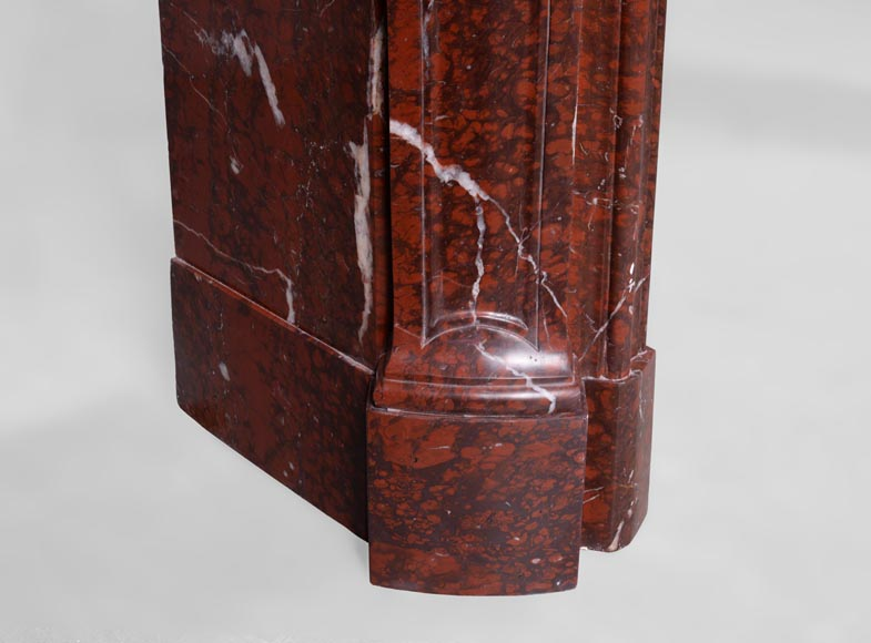 Beautiful antique Louis XV style fireplace in Red Griotte marble-5