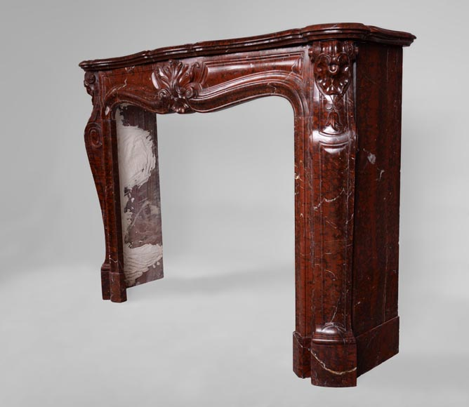Beautiful antique Louis XV style fireplace in Red Griotte marble-6