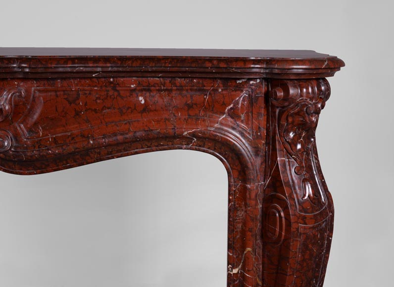 Beautiful antique Louis XV style fireplace in Red Griotte marble-7