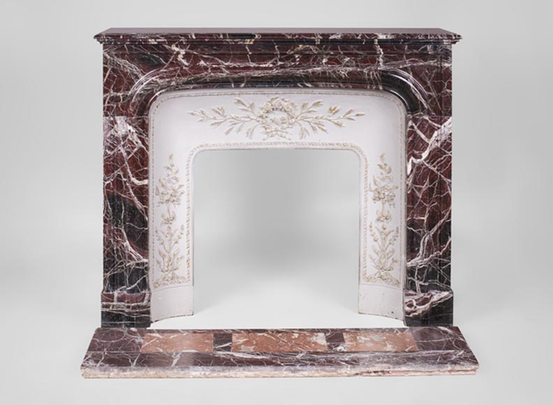 "Beautiful antique Louis XIV style ""Bollection"" fireplace in Levanto Red marble with its cast iron insert - Reference 3353"