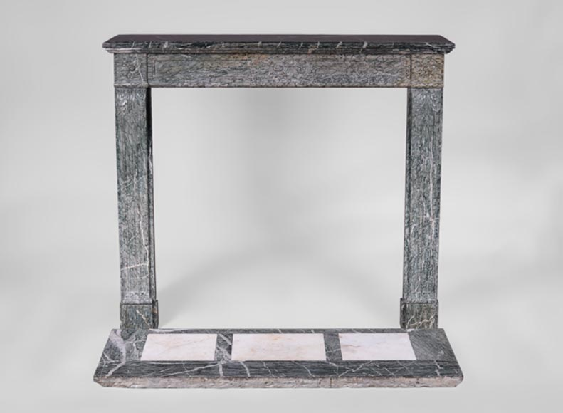 Small antique Louis XVI style fireplace with curved jambs in Vert d'Estours marble - Reference 3354