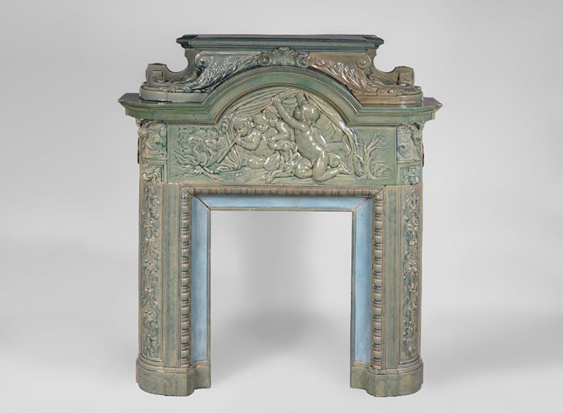 "Rare antique enameled ceramic fireplace mantel decorated with ""Winter"", bas-relief after Bouchardon, circa 1900 - Reference 3356"