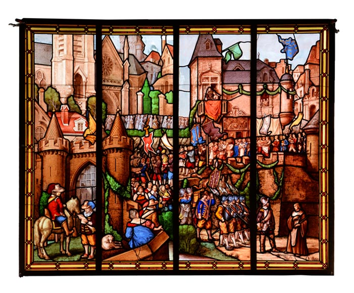 """The Armourins' procession"", large historical Neo-Gothic style stained glass window - Reference 3359"