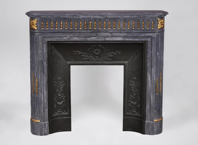Beautiful antique Louis XVI style fireplace with rounded corners in Blue Turquin marble and gilt bronze ornaments - Reference 3364