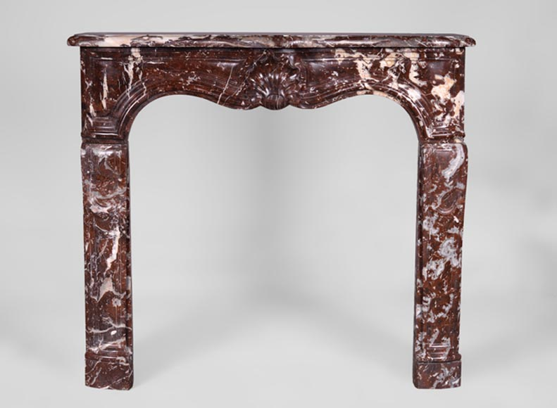Antique Regence period fireplace in Red from the North marble, 18th century - Reference 3365