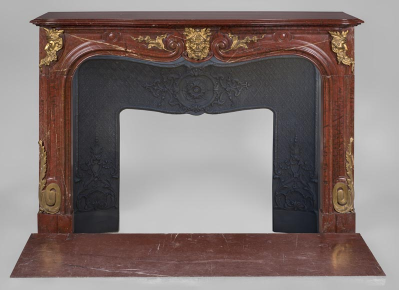 Antique Napoleon III period fireplace in Antique Red marble and gilded bronze ornaments-0