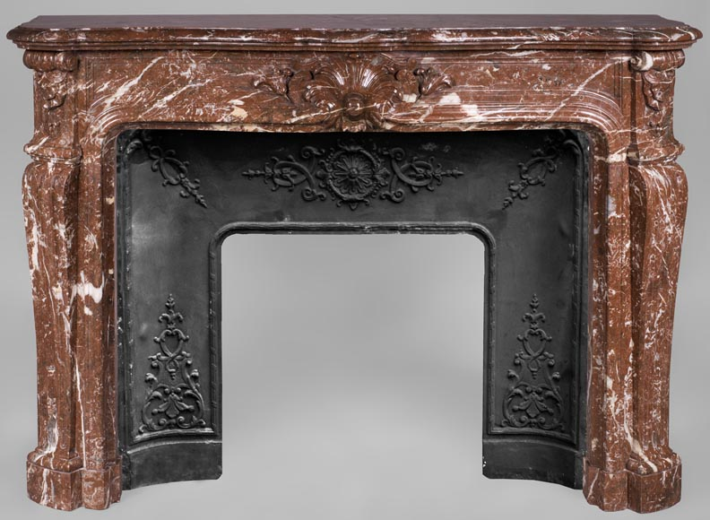 Antique Louis XV style fireplace in Red Royal marble - Reference 3368