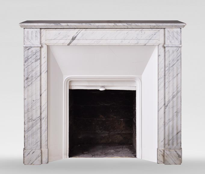 An antique Louis XVI style fireplace, made out of Arabescato marble-0