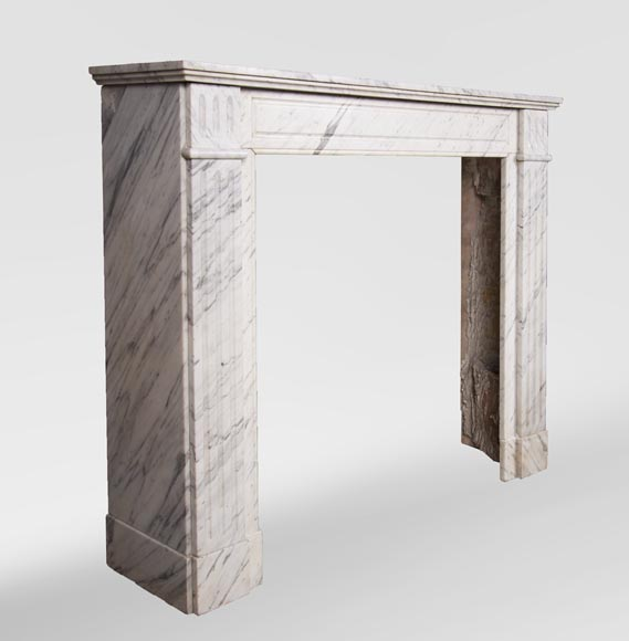 An antique Louis XVI style fireplace, made out of Arabescato marble-2