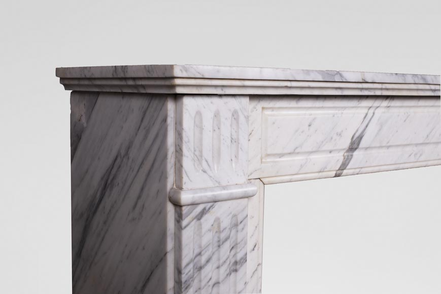 An antique Louis XVI style fireplace, made out of Arabescato marble-3